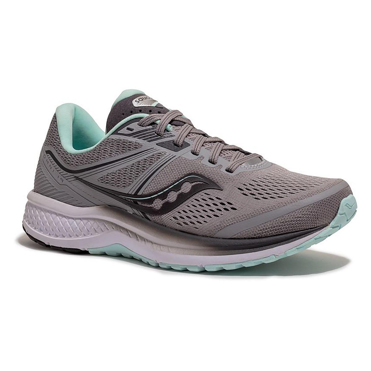 Women's Saucony Omni 19 Running Shoe - Color: Alloy/Sky - Size: 5 - Width: Regular, Alloy/Sky, large, image 5