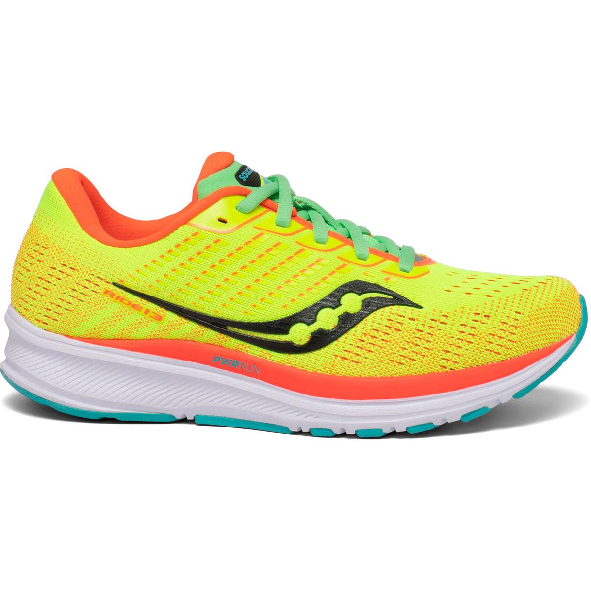 Women's Saucony Ride 13 Running Shoe - Color: Citron Mutant - Size: 5 - Width: Regular, Citron Mutant, large, image 1