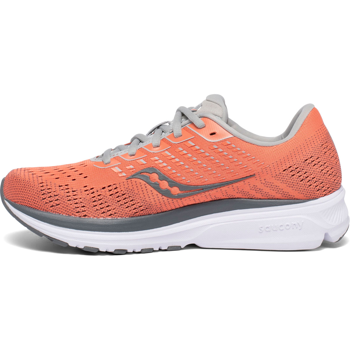 Women's Saucony Ride 13 Running Shoe - Color: Coral/Alloy - Size: 5 - Width: Regular, Coral/Alloy, large, image 2
