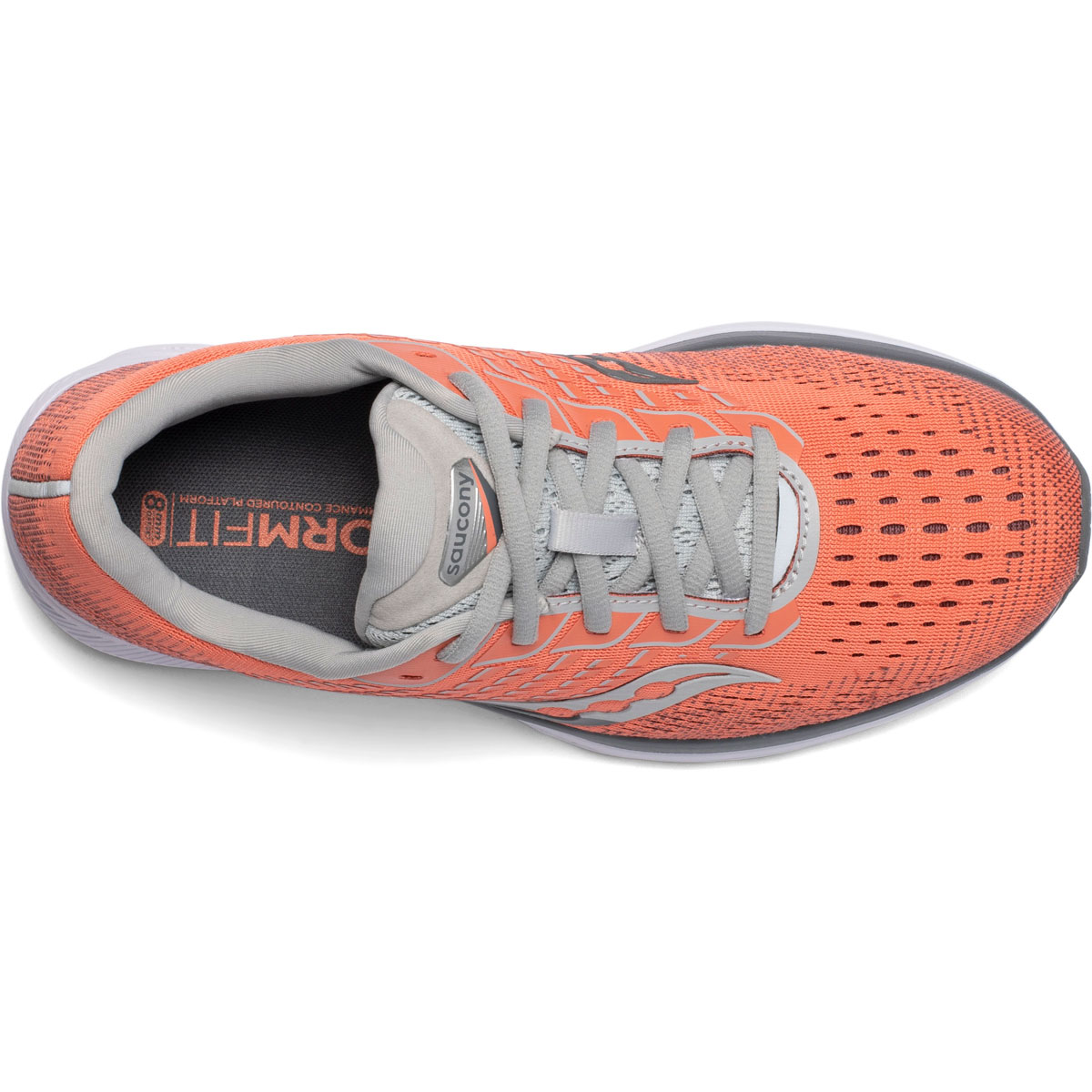 Women's Saucony Ride 13 Running Shoe - Color: Coral/Alloy - Size: 5 - Width: Regular, Coral/Alloy, large, image 3