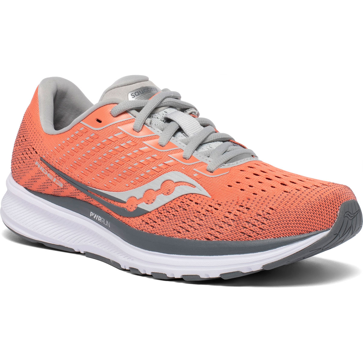 Women's Saucony Ride 13 Running Shoe - Color: Coral/Alloy - Size: 5 - Width: Regular, Coral/Alloy, large, image 5