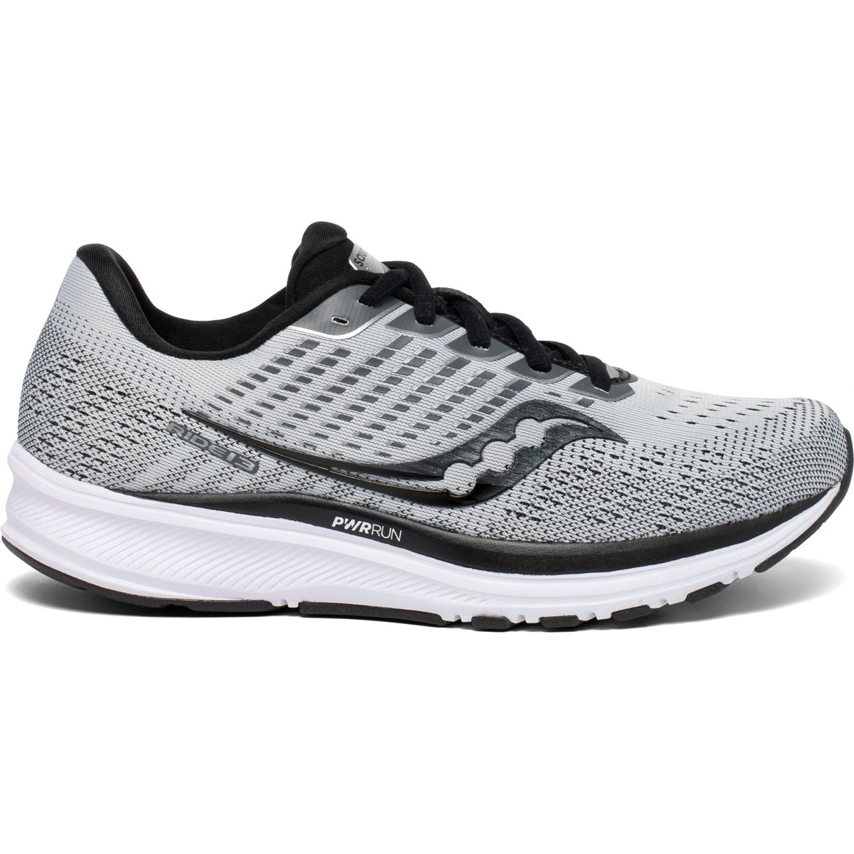 Women's Saucony Ride 13 Running Shoe  - Color: Alloy/Black - Size: 5 - Width: Regular, Alloy/Black, large, image 1