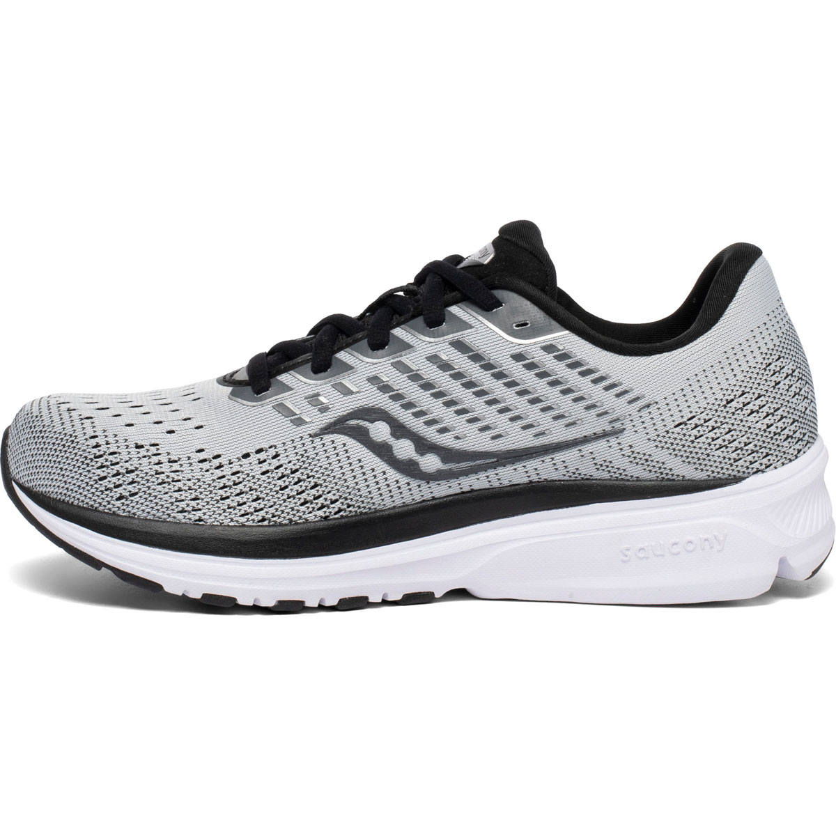 Women's Saucony Ride 13 Running Shoe  - Color: Alloy/Black - Size: 5 - Width: Regular, Alloy/Black, large, image 2