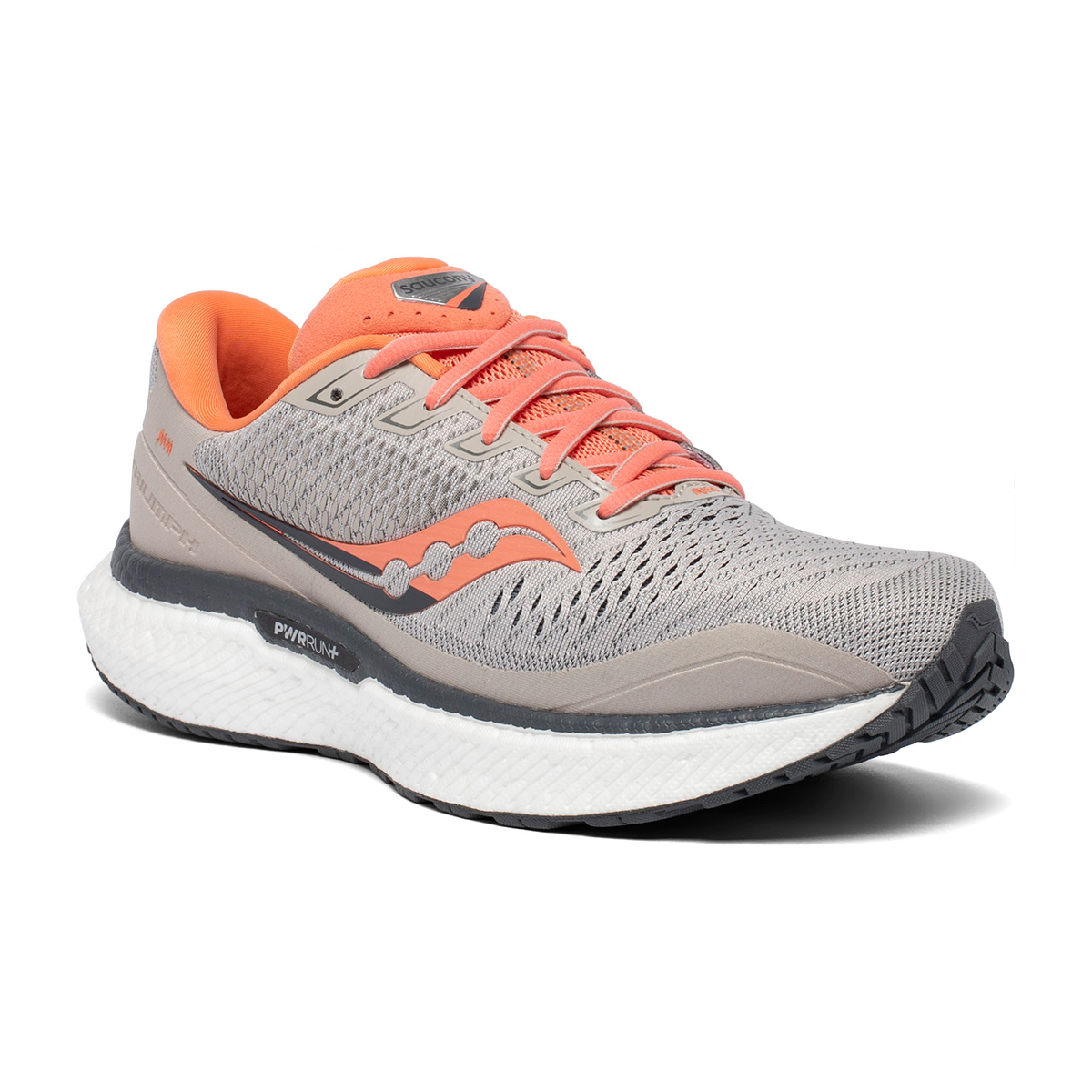 Women's Saucony Triumph 18 Running Shoe - Color: Moonrock/Coral - Size: 5 - Width: Regular, Moonrock/Coral, large, image 2