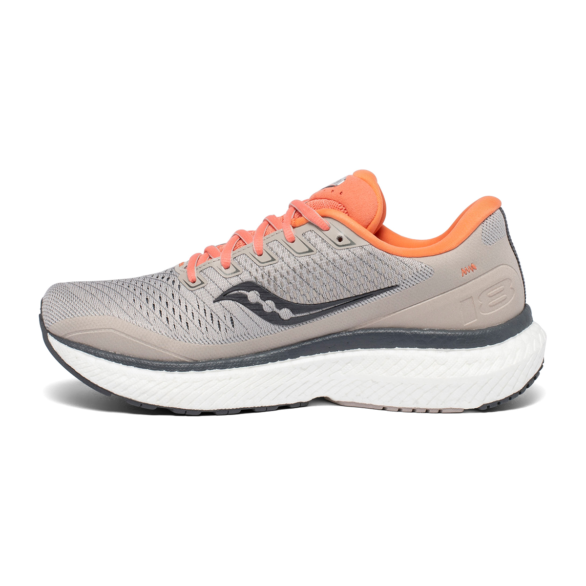 Women's Saucony Triumph 18 Running Shoe - Color: Moonrock/Coral - Size: 5 - Width: Regular, Moonrock/Coral, large, image 3