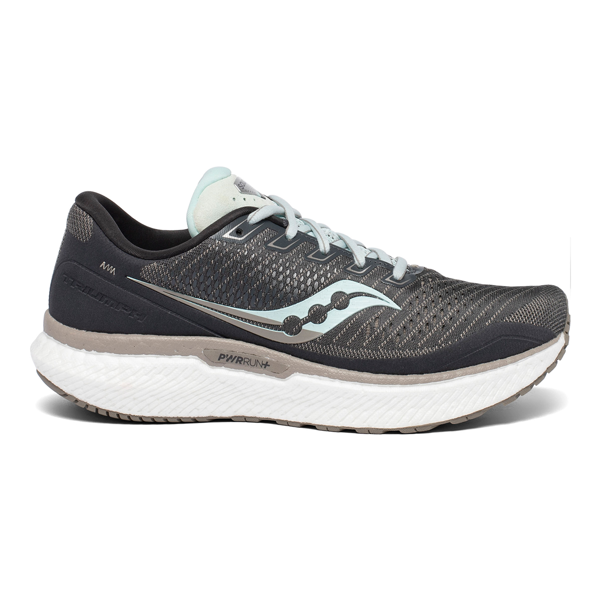 Women's Saucony Triumph 18 Running Shoe - Color: Black/Charcoal - Size: 5 - Width: Regular, Black/Charcoal, large, image 1