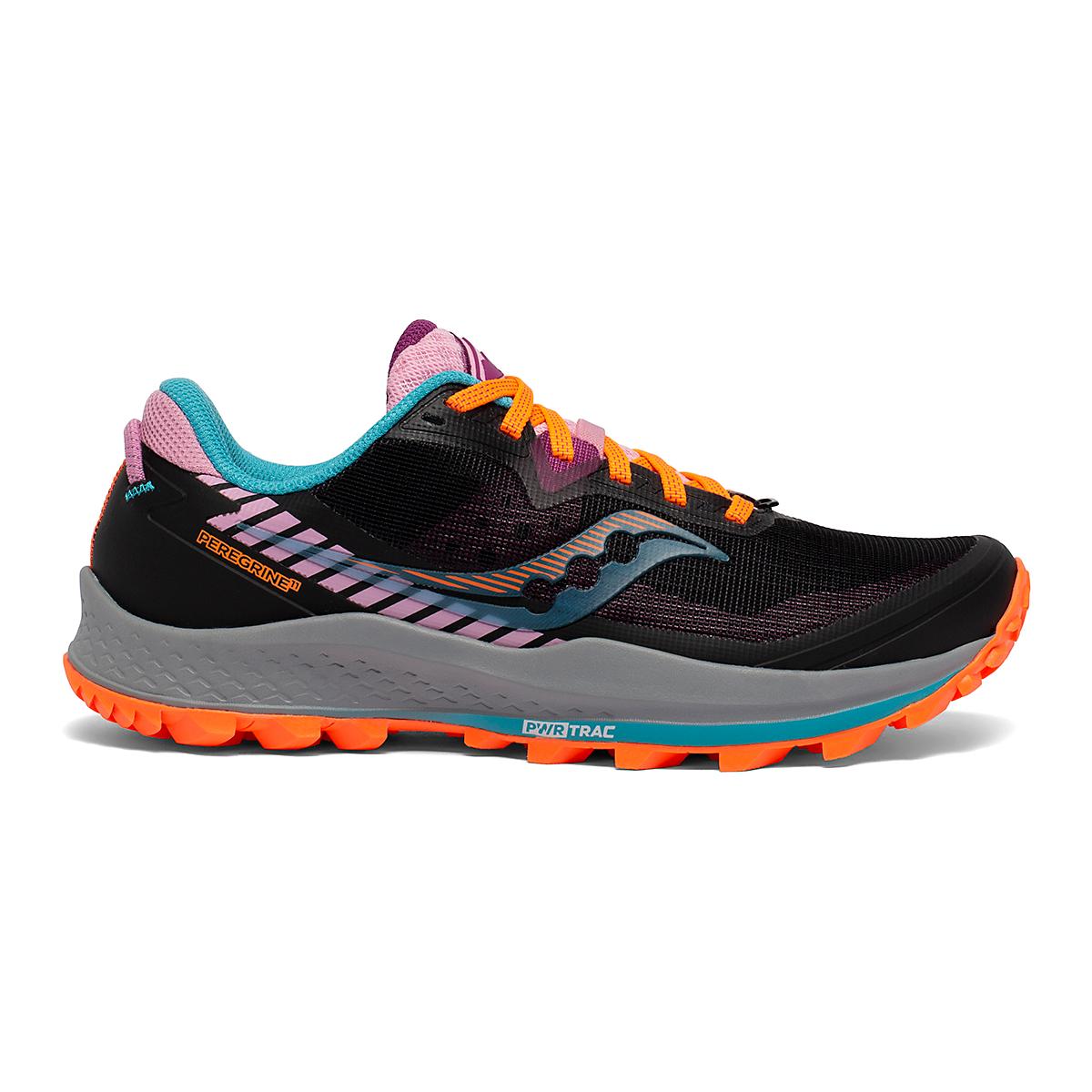 Women's Saucony Peregrine 11 Trail Running Shoe - Color: Future/Black - Size: 5 - Width: Regular, Future/Black, large, image 1