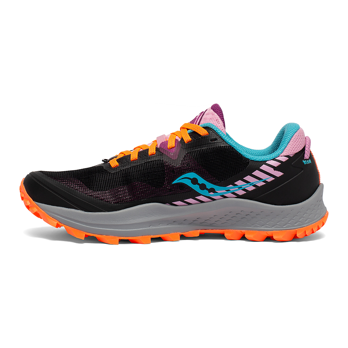 Women's Saucony Peregrine 11 Trail Running Shoe - Color: Future/Black - Size: 5 - Width: Regular, Future/Black, large, image 2