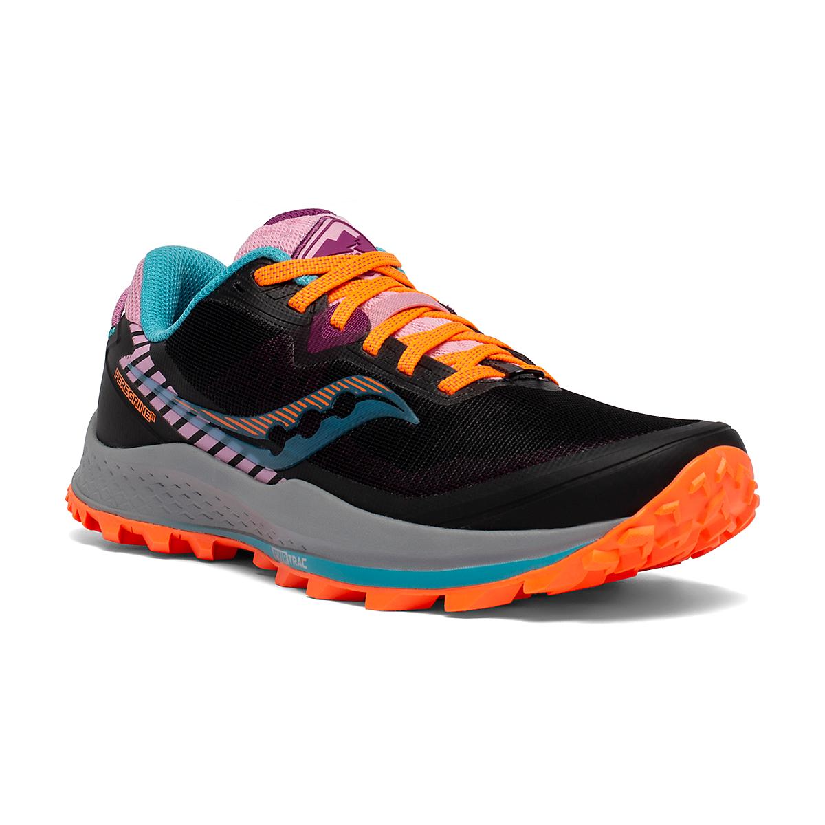Women's Saucony Peregrine 11 Trail Running Shoe - Color: Future/Black - Size: 5 - Width: Regular, Future/Black, large, image 3