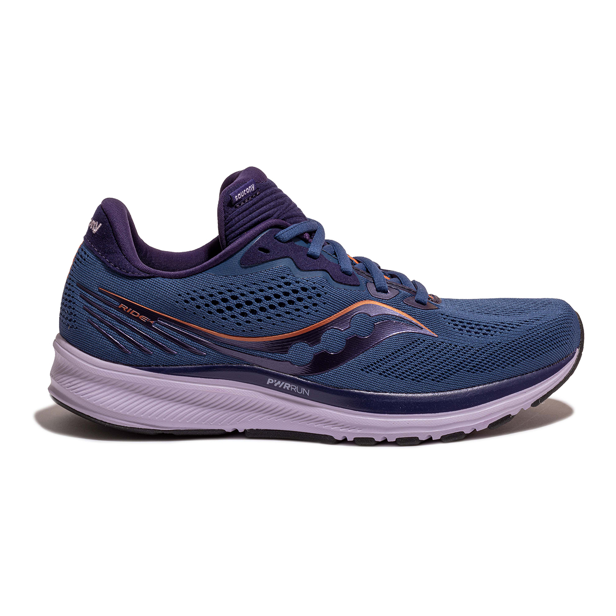 Women's Saucony Ride 14 Running Shoe - Color: Midnight/Copper - Size: 5 - Width: Regular, Midnight/Copper, large, image 1