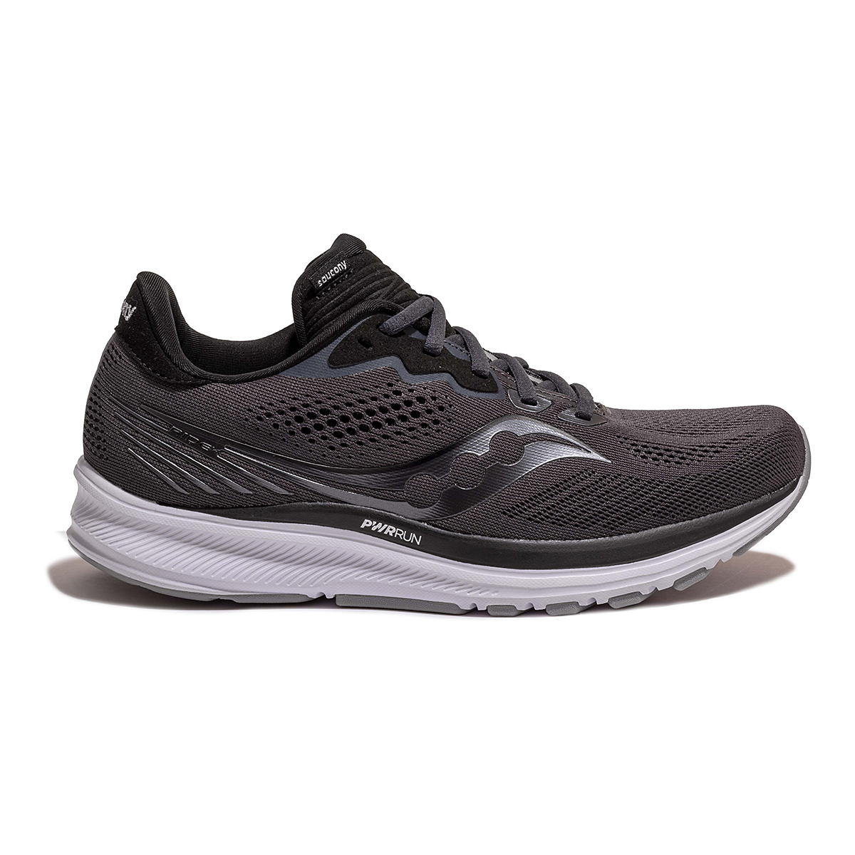 Women's Saucony Ride 14 Running Shoe - Color: Charcoal/Black - Size: 5 - Width: Wide, Charcoal/Black, large, image 1