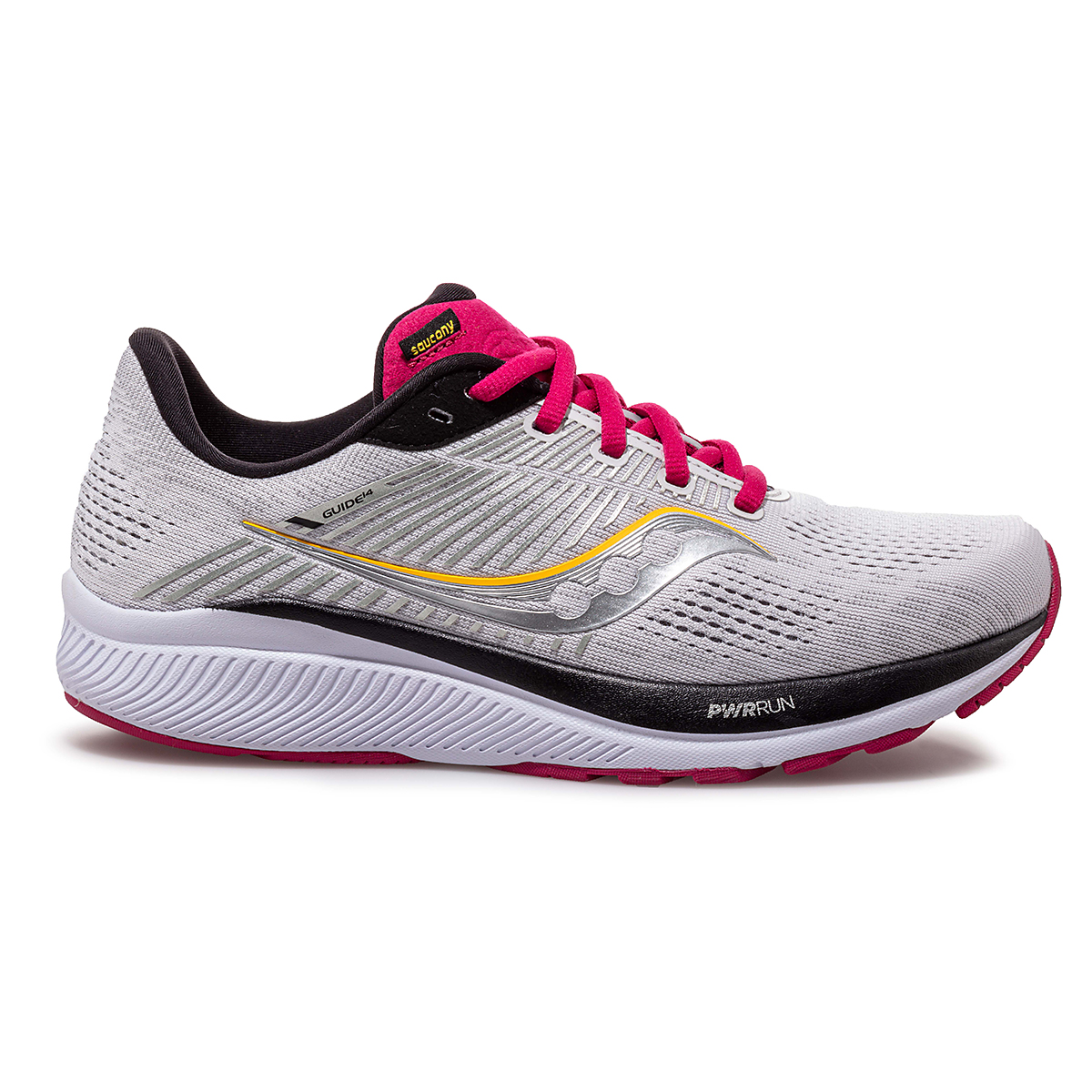 Women's Saucony Guide 14 Running Shoe - Color: Alloy/Cherry - Size: 5 - Width: Regular, Alloy/Cherry, large, image 1