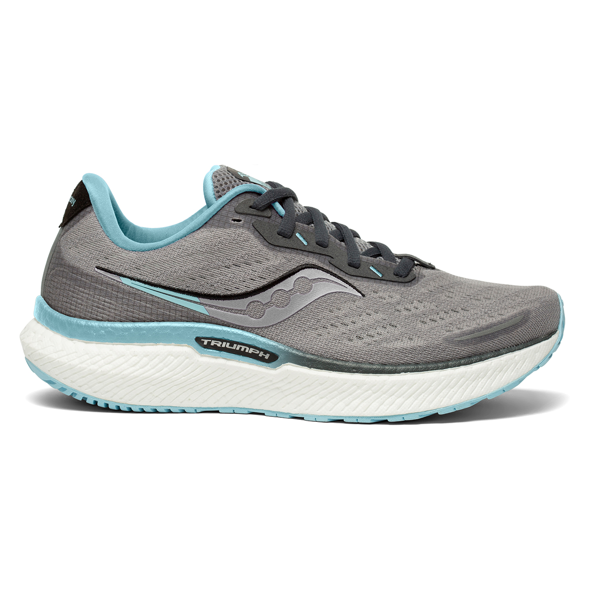 Women's Saucony Triumph 19 Running Shoe - Color: Alloy/Concord - Size: 6 - Width: Regular, Alloy/Concord, large, image 1