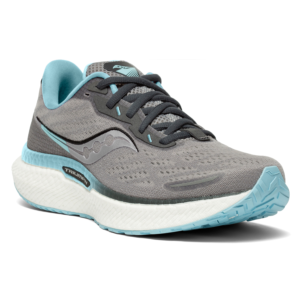 Women's Saucony Triumph 19 Running Shoe - Color: Alloy/Concord - Size: 6 - Width: Regular, Alloy/Concord, large, image 2