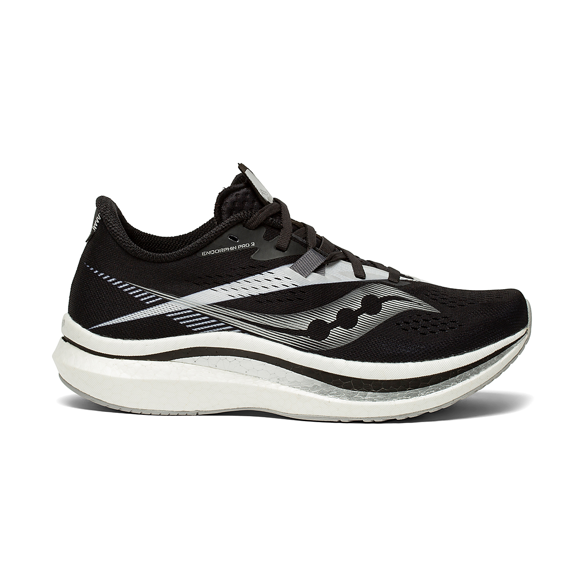 Women's Saucony Endorphin Pro 2 Running Shoe - Color: Black/White - Size: 5 - Width: Regular, Black/White, large, image 1