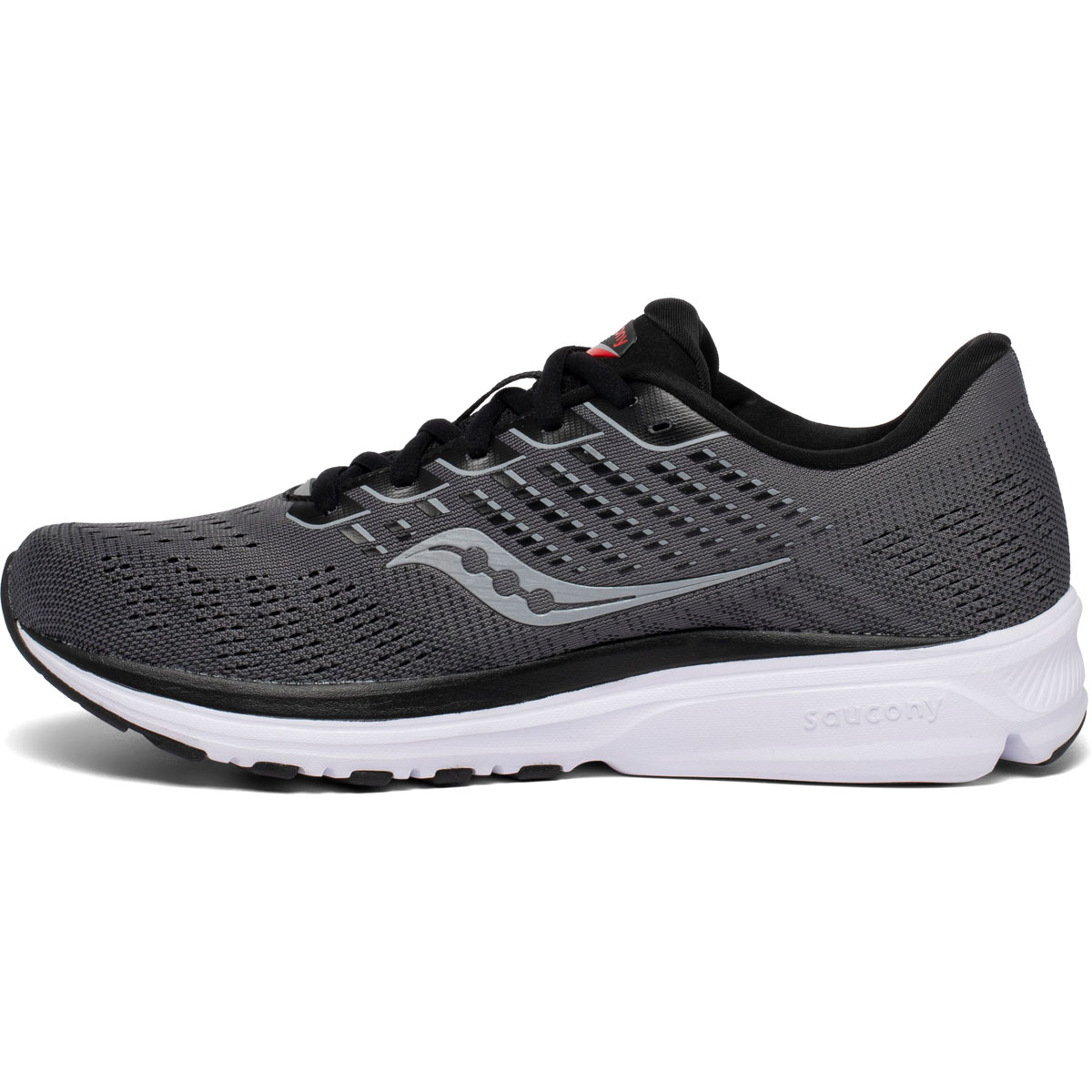 Men's Saucony Ride 13 Running Shoe - Color: Charcoal/Red - Size: 7 - Width: Regular, Charcoal/Red, large, image 2
