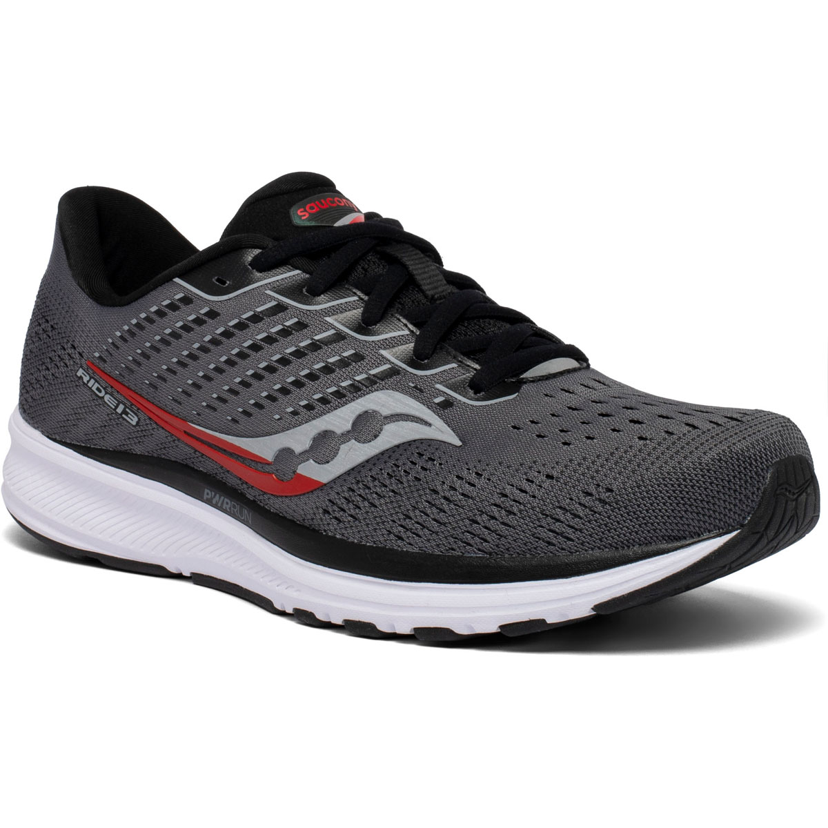 Men's Saucony Ride 13 Running Shoe - Color: Charcoal/Red - Size: 7 - Width: Regular, Charcoal/Red, large, image 5
