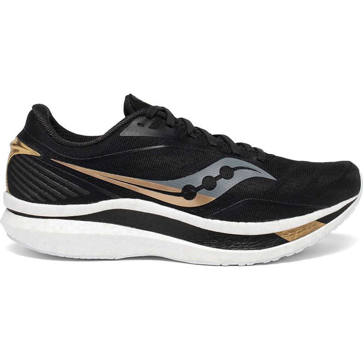 Men's Saucony Endorphin Speed Running Shoe - Color: Black/Gold - Size: 7 - Width: Regular, Black/Gold, large, image 1