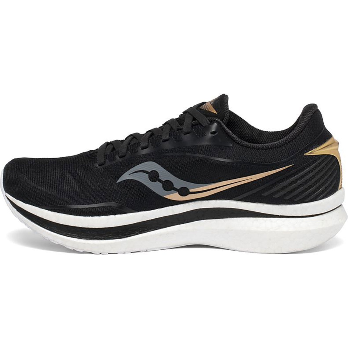 Men's Saucony Endorphin Speed Running Shoe - Color: Black/Gold - Size: 7 - Width: Regular, Black/Gold, large, image 2