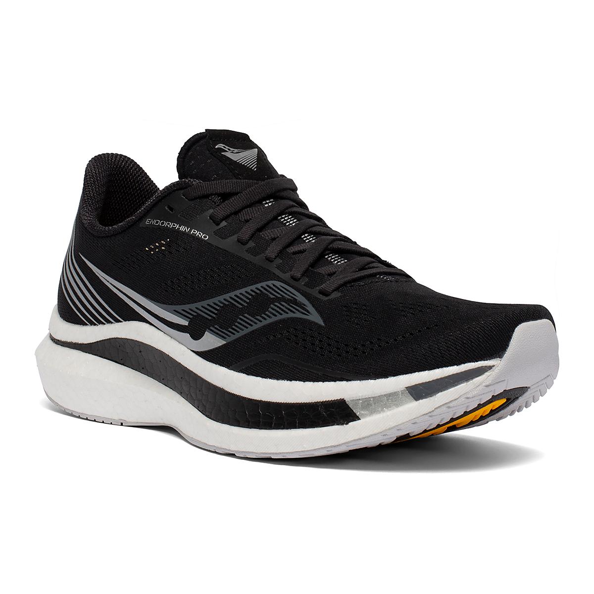 Men's Saucony Endorphin Pro Running Shoe - Color: Black/Silver - Size: 7 - Width: Regular, Black/Silver, large, image 3