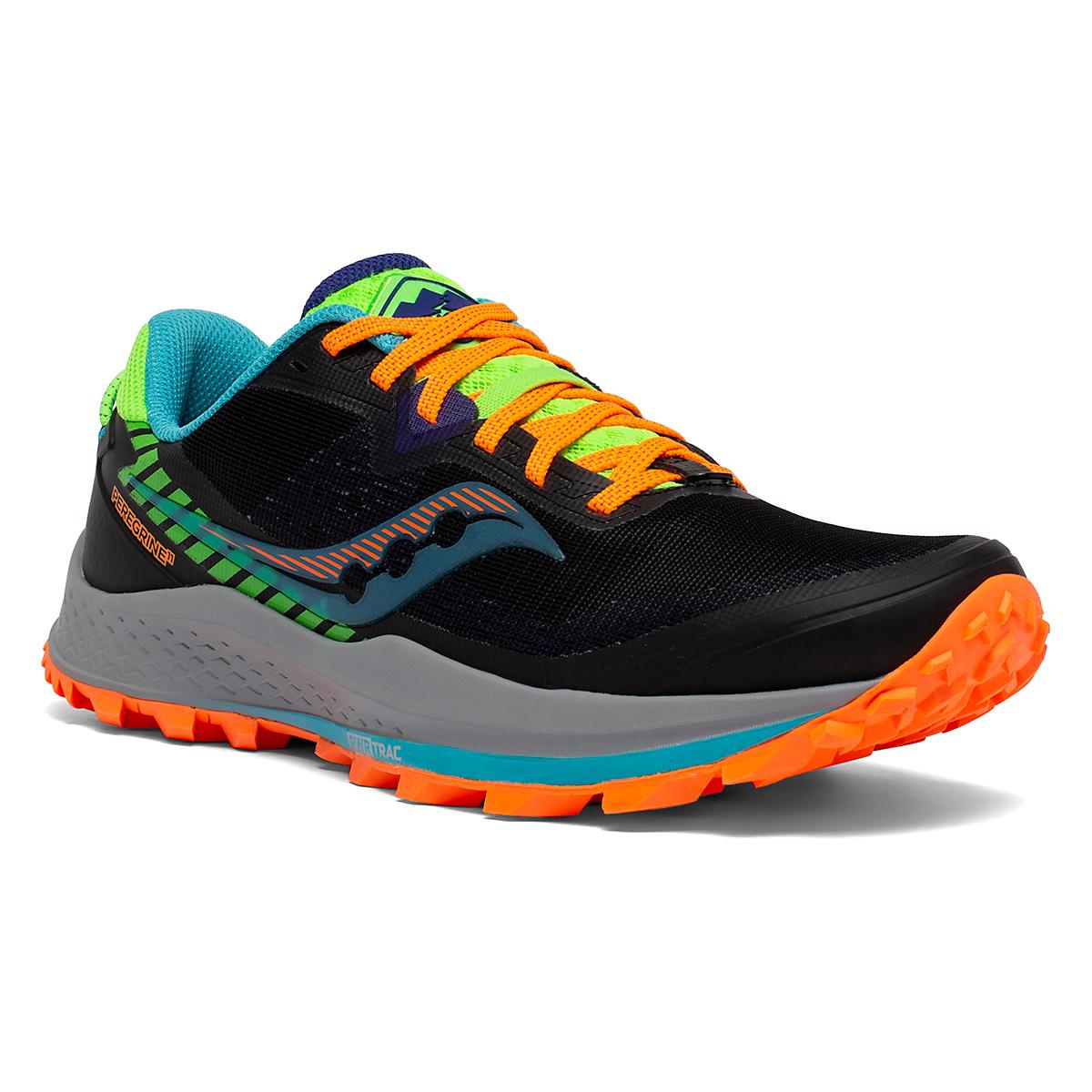 Men's Saucony Peregrine 11 Trail Running Shoe - Color: Future/Black - Size: 8 - Width: Regular, Future/Black, large, image 3
