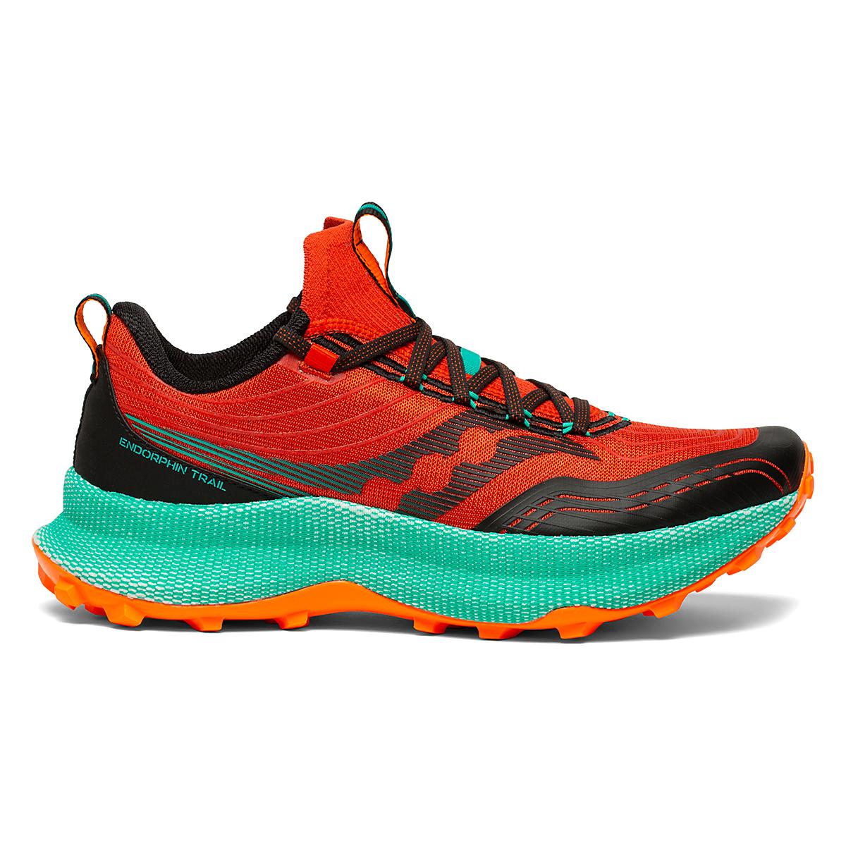 Men's Saucony Endorphin Trail Running Shoe - Color: Scarlet/Black - Size: 7 - Width: Regular, Scarlet/Black, large, image 1