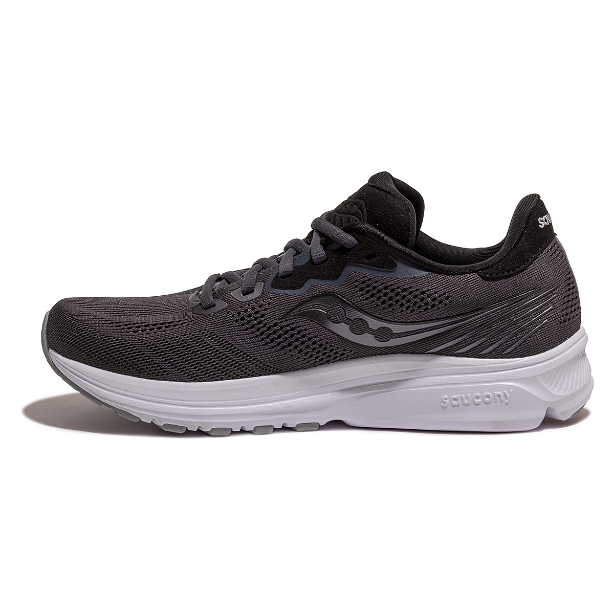 Men's Saucony Ride 14 Running Shoe - Color: Charcoal/Black - Size: 7 - Width: Wide, Charcoal/Black, large, image 2