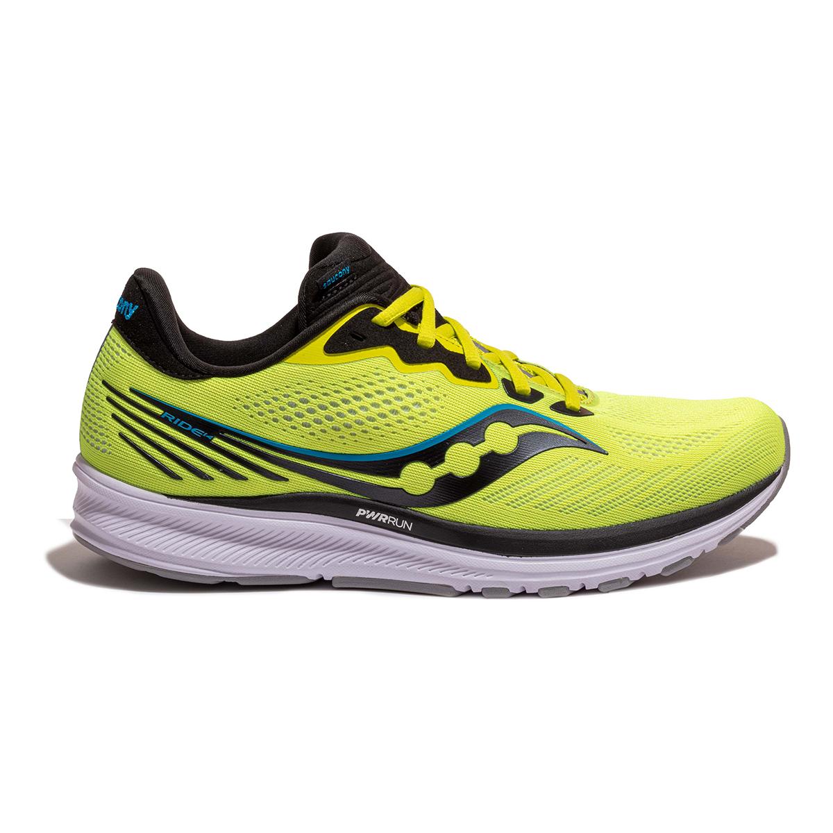 Men's Saucony Ride 14 Running Shoe - Color: Citrus / Black - Size: 7 - Width: Regular, Citrus / Black, large, image 1