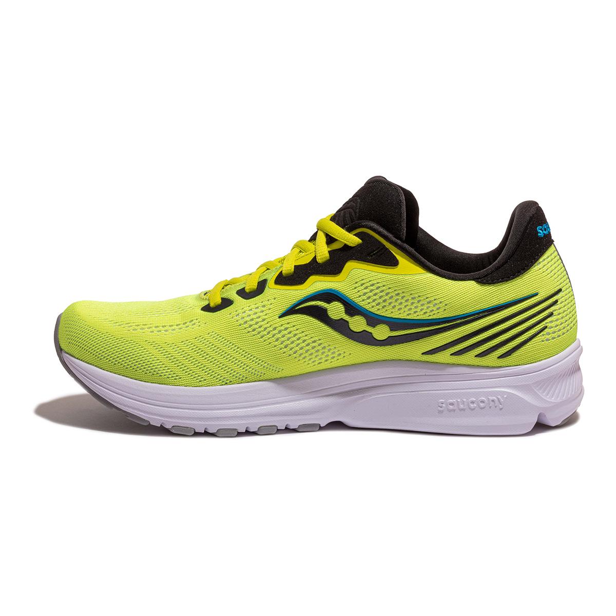 Men's Saucony Ride 14 Running Shoe - Color: Citrus / Black - Size: 7 - Width: Regular, Citrus / Black, large, image 2
