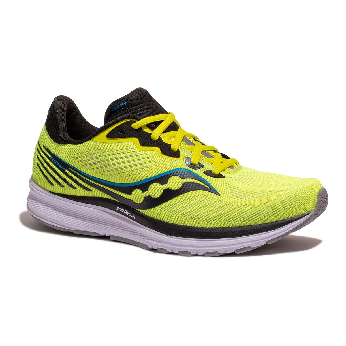Men's Saucony Ride 14 Running Shoe - Color: Citrus / Black - Size: 7 - Width: Regular, Citrus / Black, large, image 3