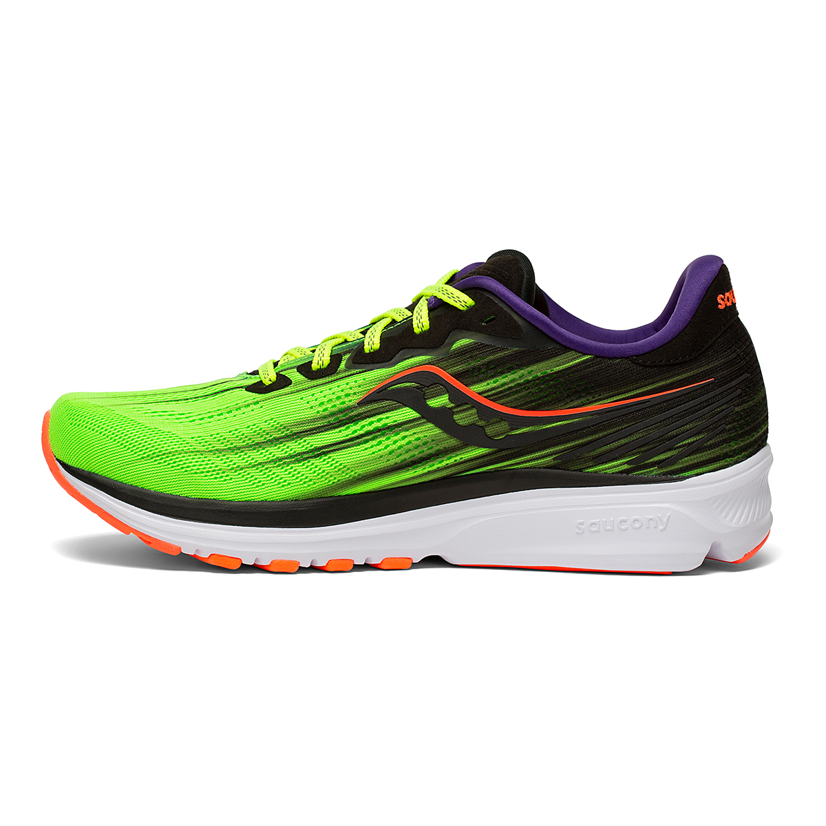 Men's Saucony Ride 14 Running Shoe - Color: Vizipro - Size: 7 - Width: Regular, Vizipro, large, image 2