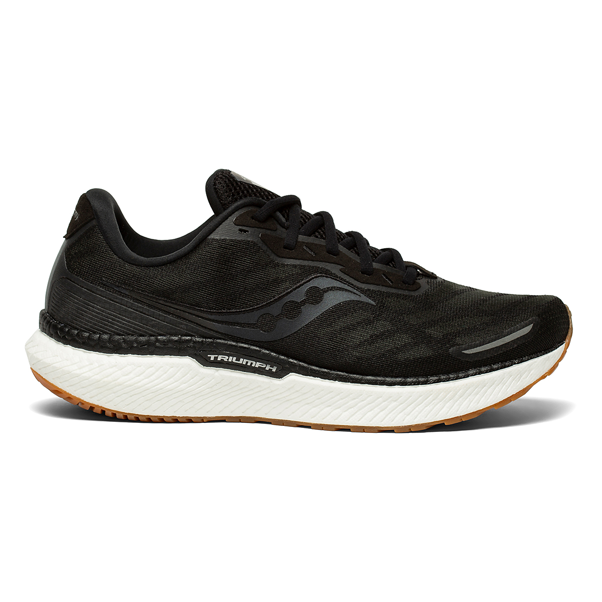 Men's Saucony Triumph 19 Running Shoe - Color: Black/Gum - Size: 7 - Width: Regular, Black/Gum, large, image 1
