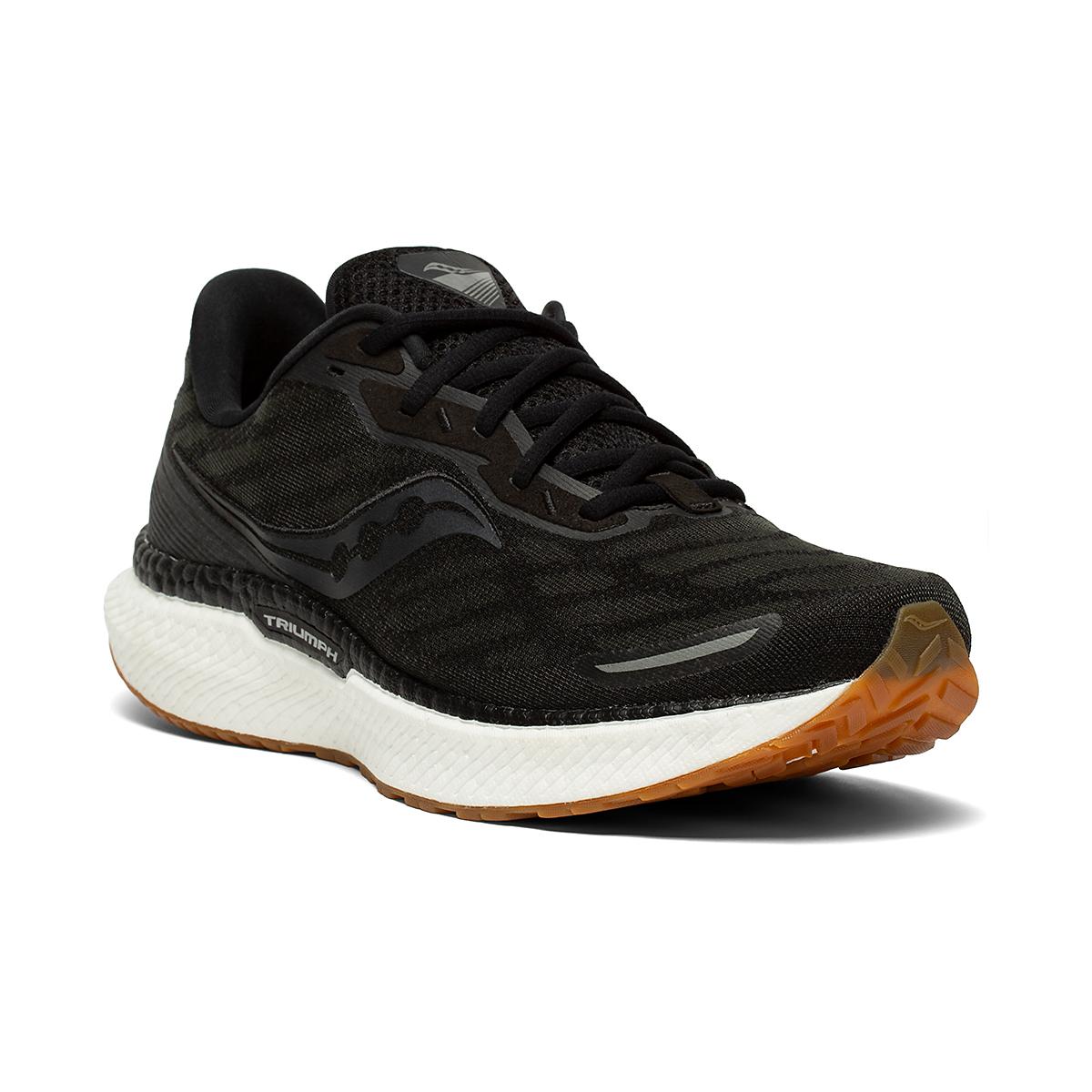 Men's Saucony Triumph 19 Running Shoe - Color: Black/Gum - Size: 7 - Width: Regular, Black/Gum, large, image 2