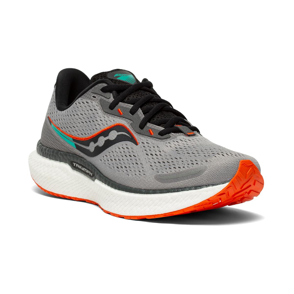 Men's Saucony Triumph 19 Running Shoe - Color: Alloy / Fire - Size: 7 - Width: Wide, Alloy / Fire, large, image 3
