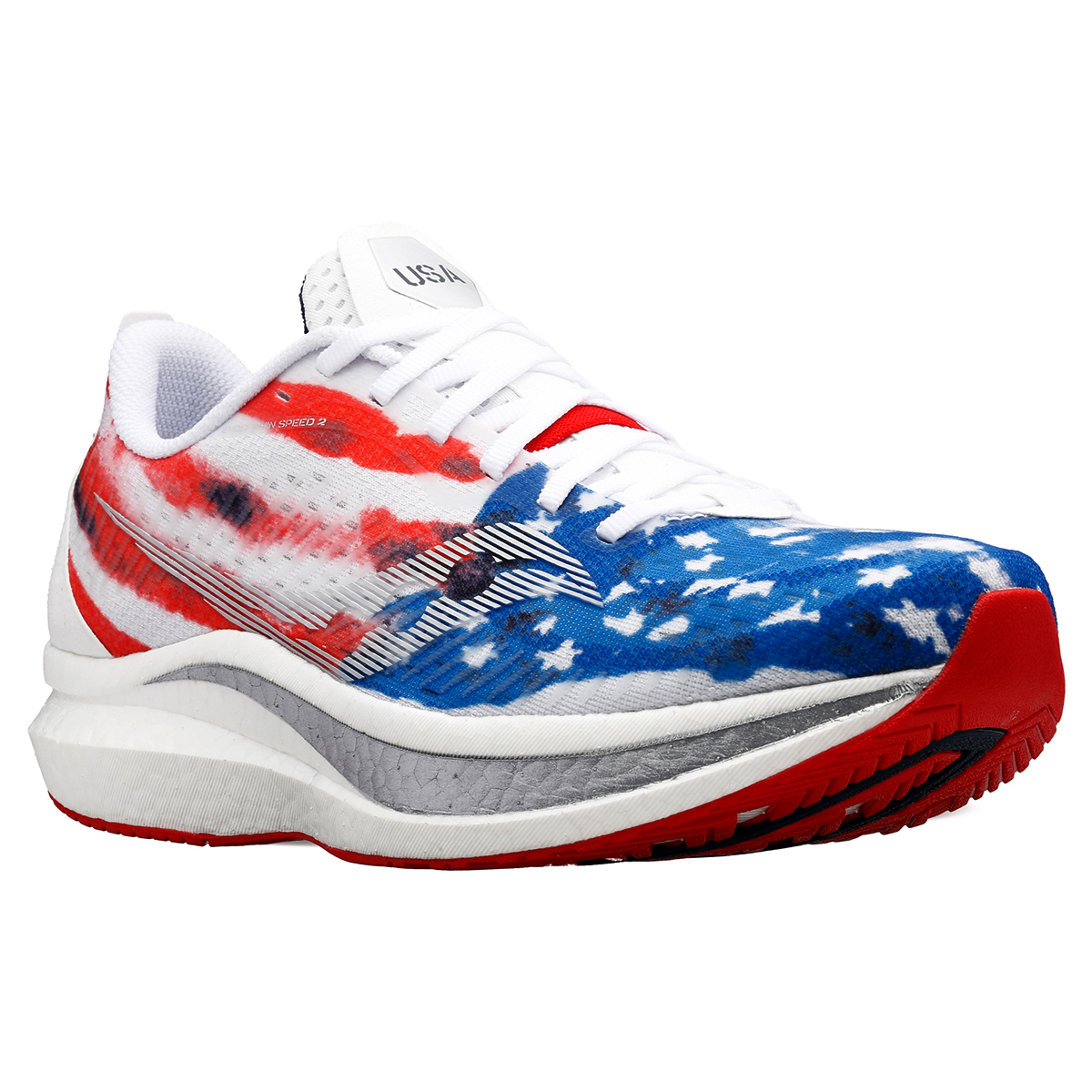 Men's Saucony Endorphin Speed 2 Running Shoe - Color: Red/White/Blue - Size: 7 - Width: Regular, Red/White/Blue, large, image 2