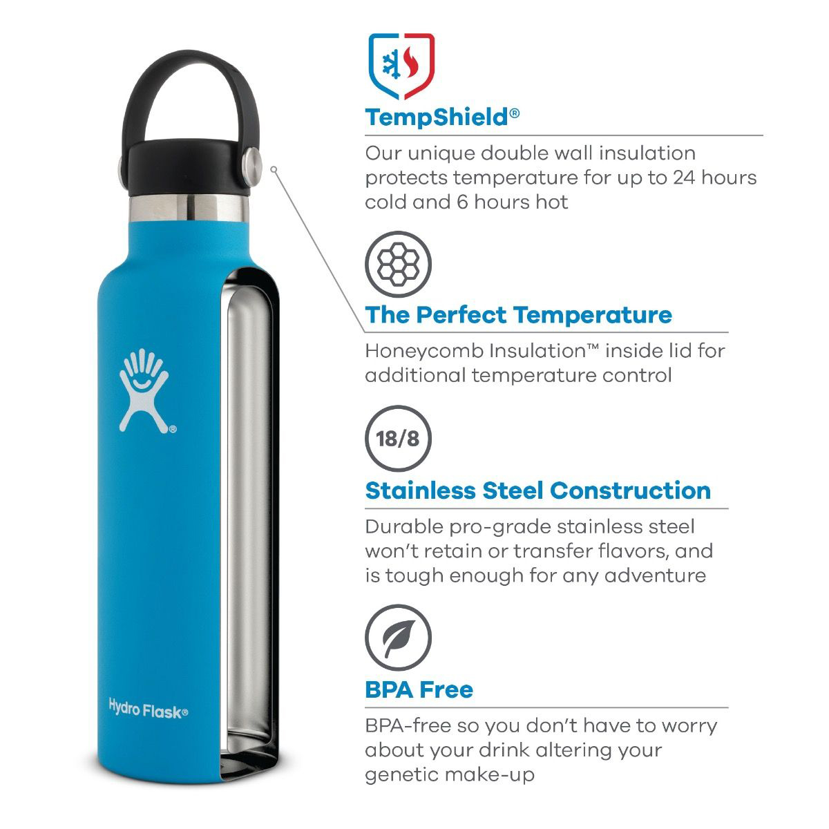 Hydro Flask 21 oz Standard Mouth Water Bottle - Color: Rain, Rain, large, image 2