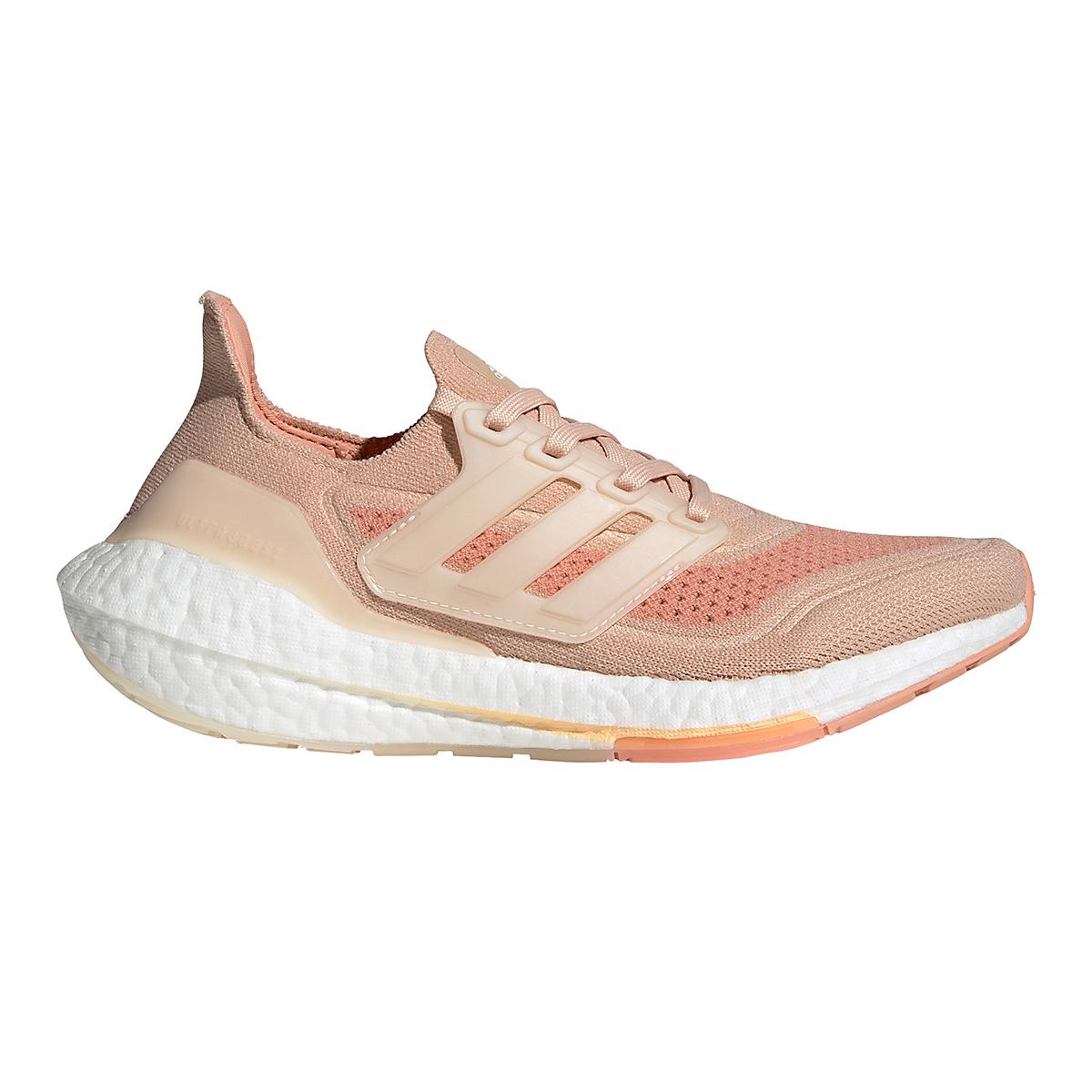 Women's Adidas Ultraboost 21 Running Shoe - Color: Halo Blush/Wonder White/Ambient Blush - Size: 5 - Width: Regular, Halo Blush/Wonder White/Ambient Blush, large, image 1