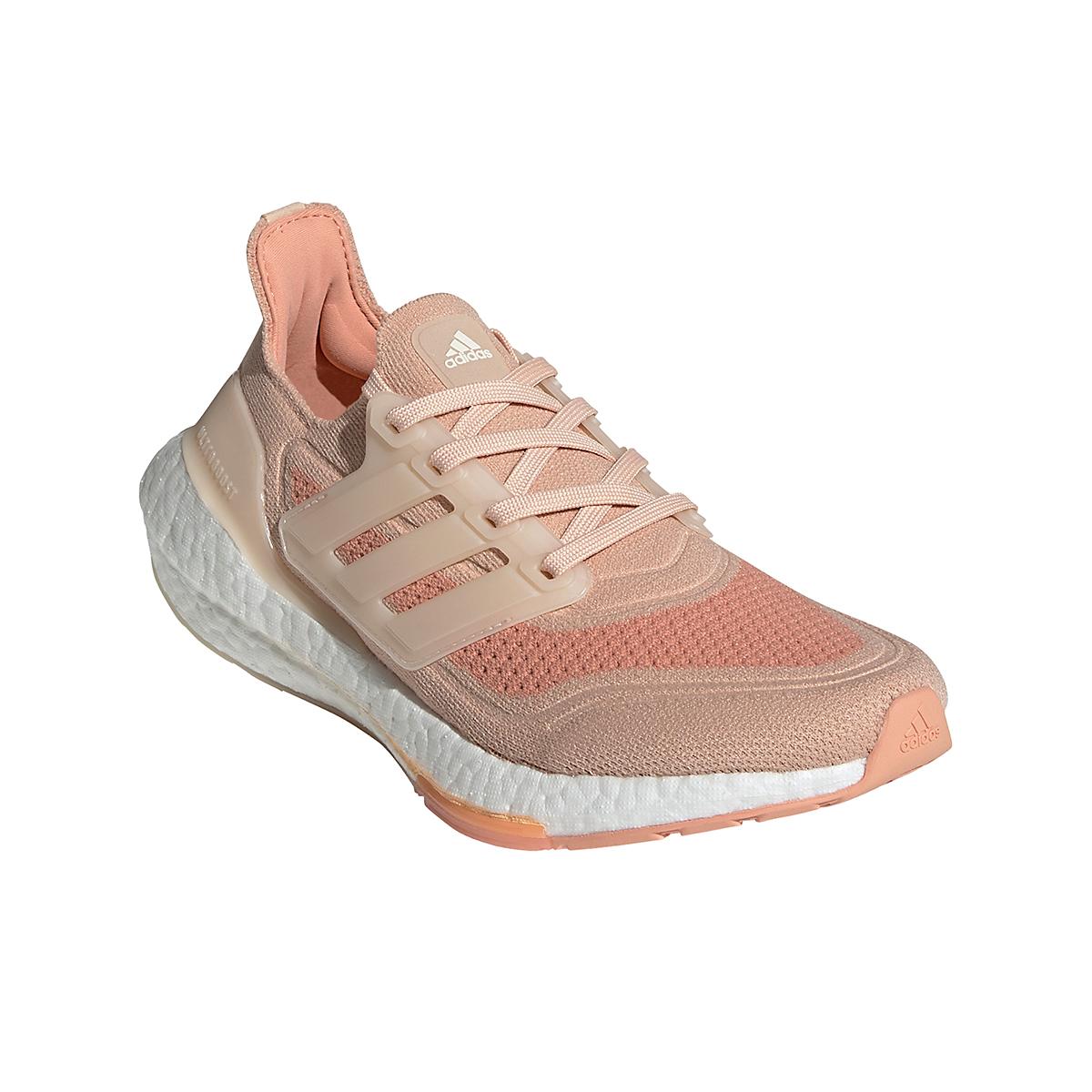 Women's Adidas Ultraboost 21 Running Shoe - Color: Halo Blush/Wonder White/Ambient Blush - Size: 5 - Width: Regular, Halo Blush/Wonder White/Ambient Blush, large, image 3