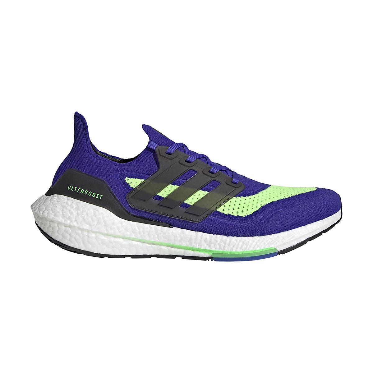 Men's Adidas UltraBOOST 21 Running Shoe - Color: Sonic Ink/Core Black/Screaming Green - Size: 6 - Width: Regular, Sonic Ink/Core Black/Screaming Green, large, image 1