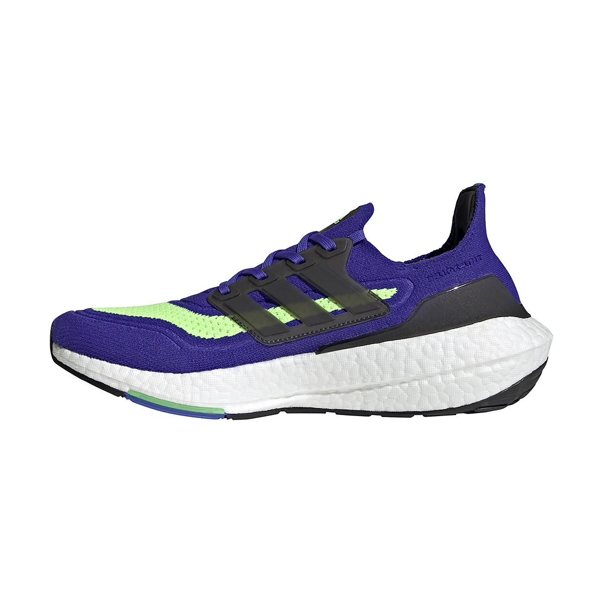 Men's Adidas UltraBOOST 21 Running Shoe - Color: Sonic Ink/Core Black/Screaming Green - Size: 6 - Width: Regular, Sonic Ink/Core Black/Screaming Green, large, image 2