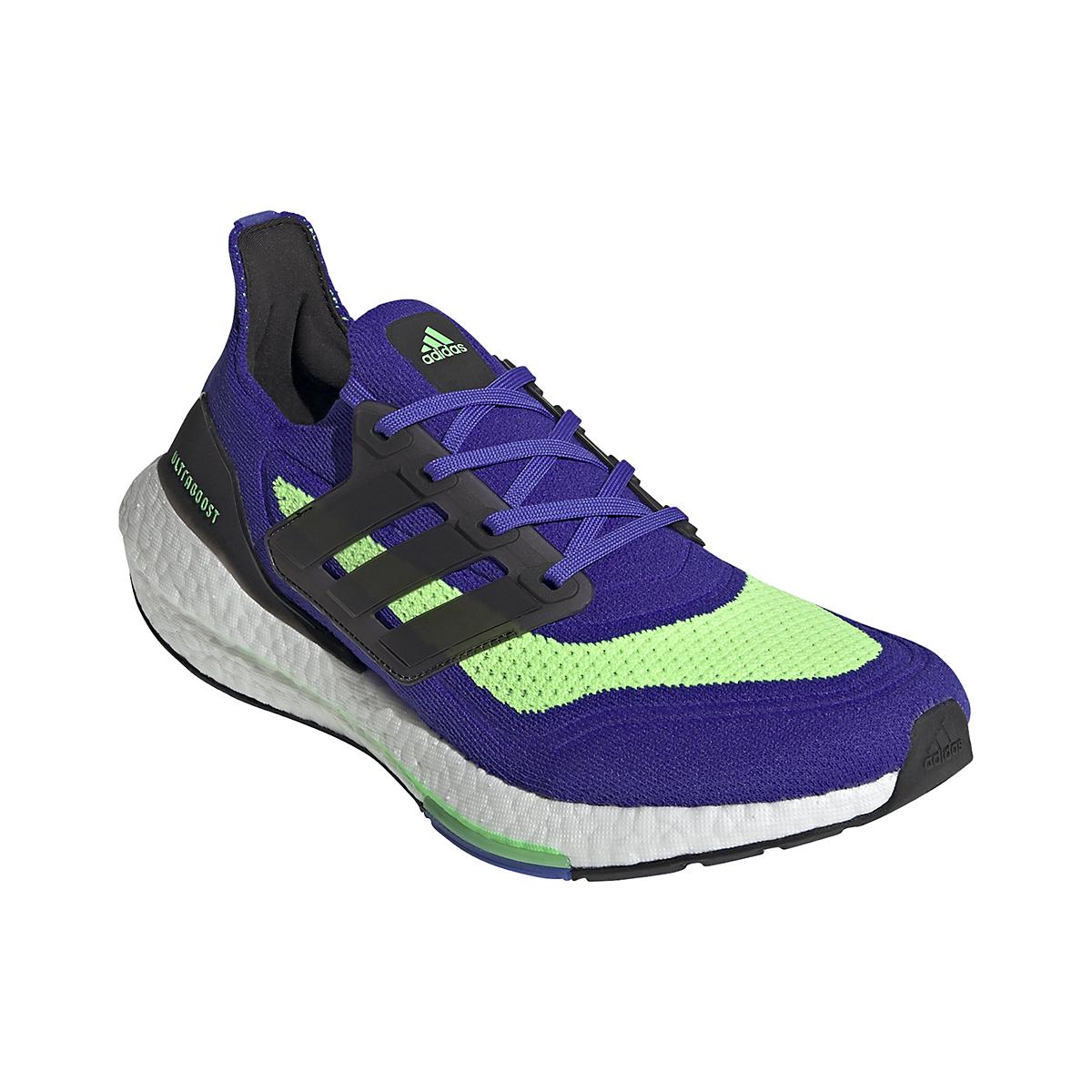 Men's Adidas UltraBOOST 21 Running Shoe - Color: Sonic Ink/Core Black/Screaming Green - Size: 6 - Width: Regular, Sonic Ink/Core Black/Screaming Green, large, image 3