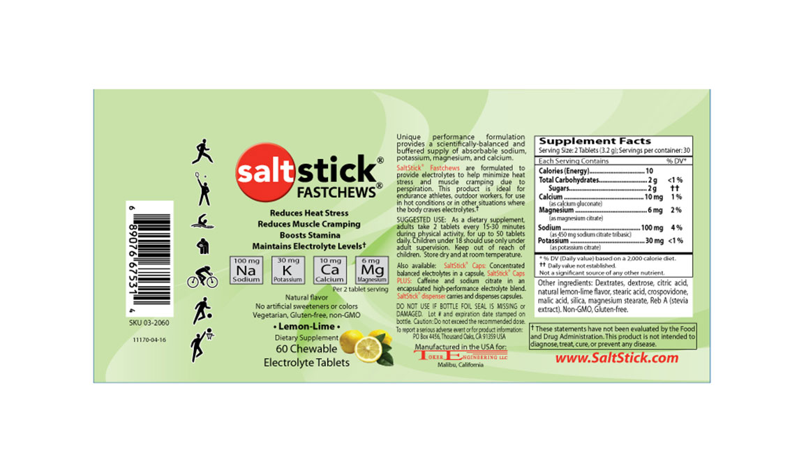 SaltStick Fastchews - Flavor: Lemon Lime - Size: 60 Tablets, Lemon Lime, large, image 2