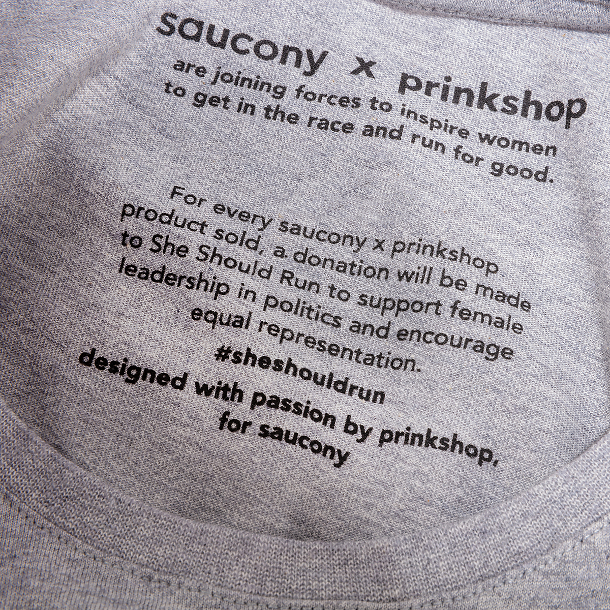 Men's Saucony x Prinkshop Hero T-Shirt  - Color: Light Grey Heather - Size: S, Light Grey Heather, large, image 2