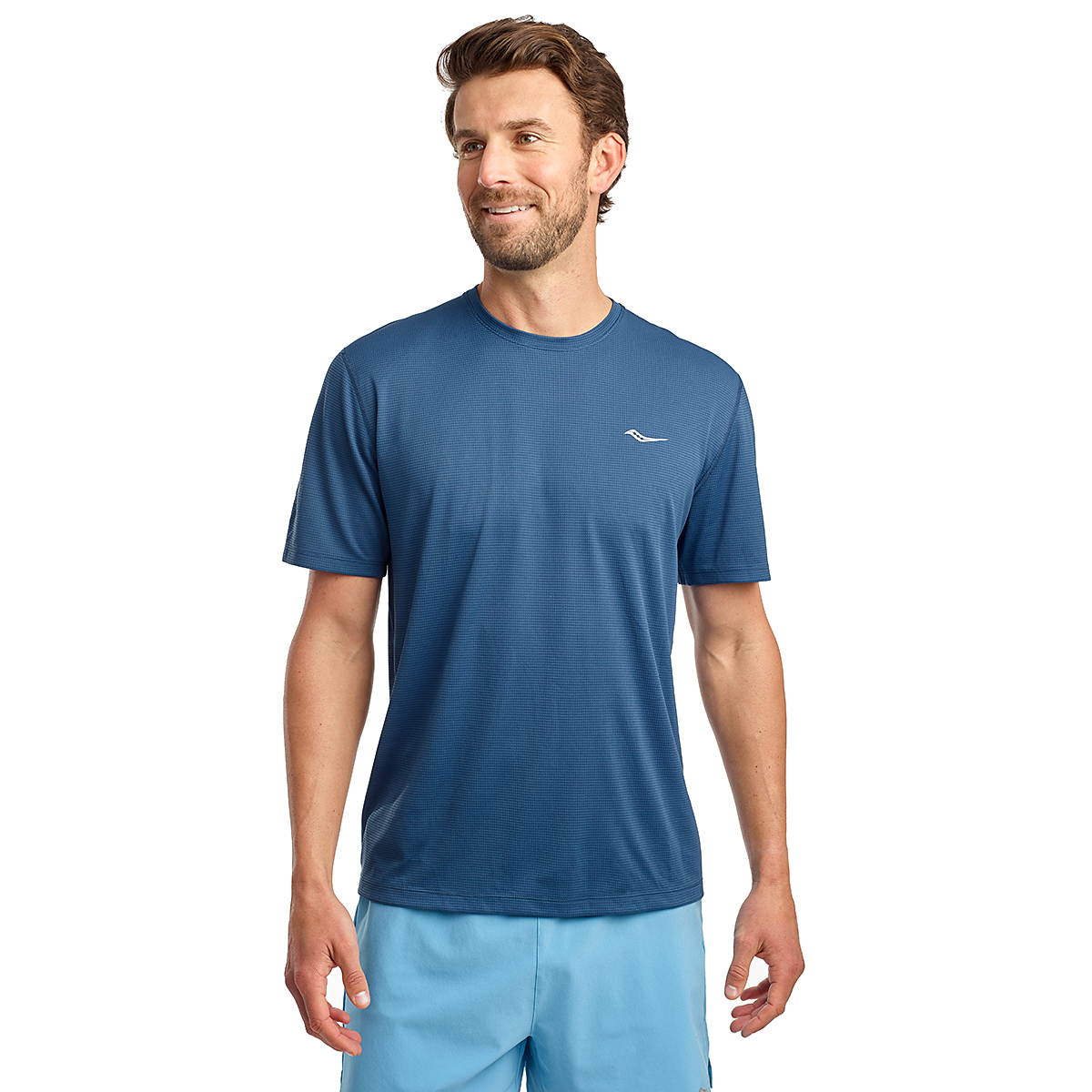 Men's Saucony Stopwatch Short Sleeve - Color: Ensign Blue - Size: S, Ensign Blue, large, image 1