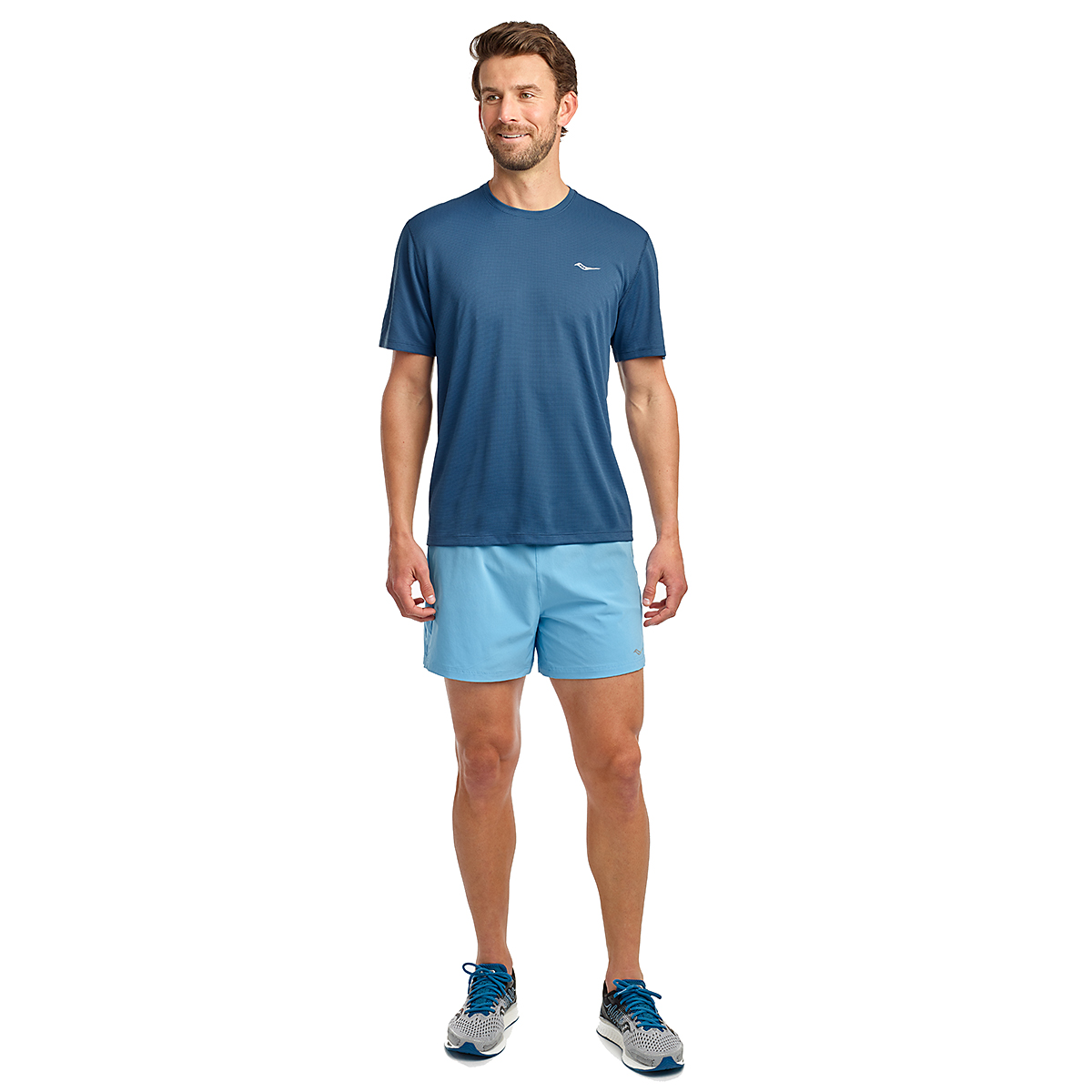 Men's Saucony Stopwatch Short Sleeve - Color: Ensign Blue - Size: S, Ensign Blue, large, image 3