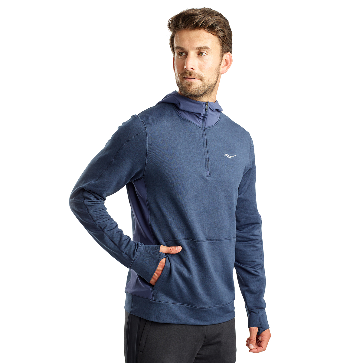 Men's Saucony Daybreak Hoodie  - Color: Mood Indigo - Size: L, Mood Indigo, large, image 1