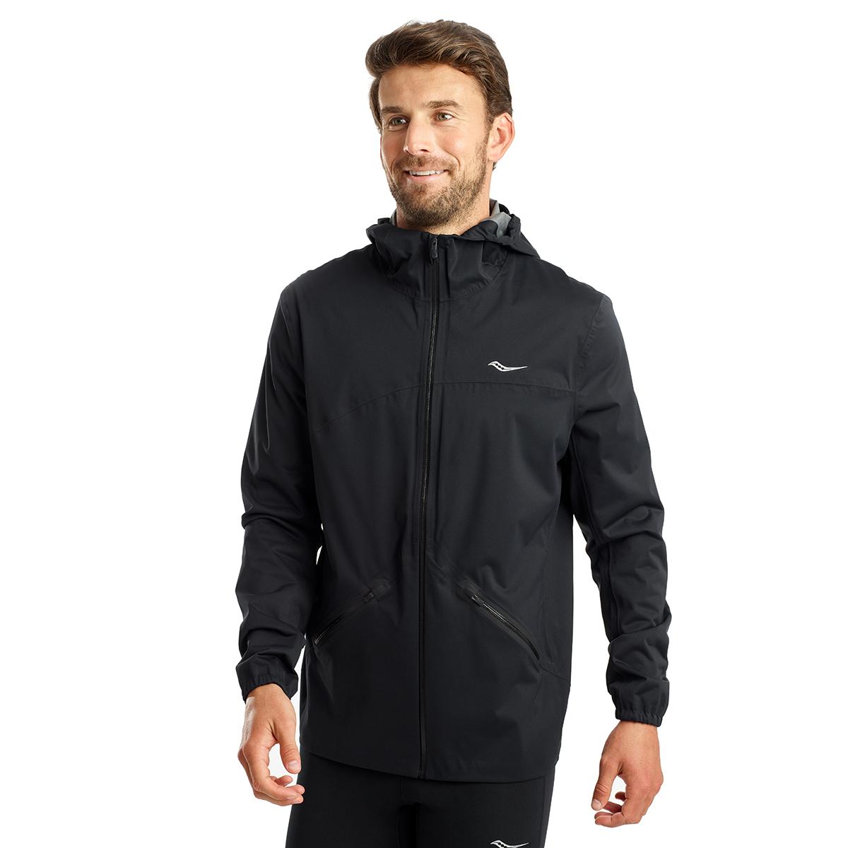 Men's Saucony Drizzle Jacket  - Color: Black - Size: S, Black, large, image 1