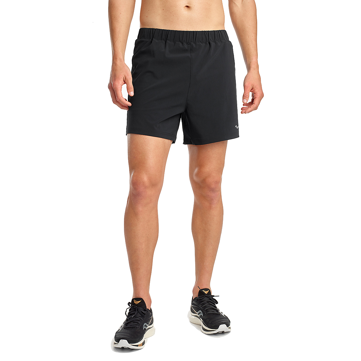 "Men's Saucony Outpace 5"" Short - Color: Black - Size: S, Black, large, image 1"