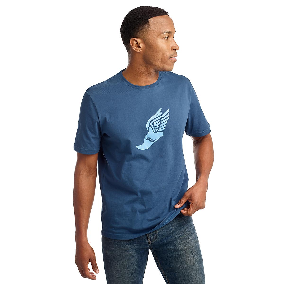 Men's Saucony Rested Short Sleeve Tee - Color: Ensign Blue - Size: S, Ensign Blue, large, image 1