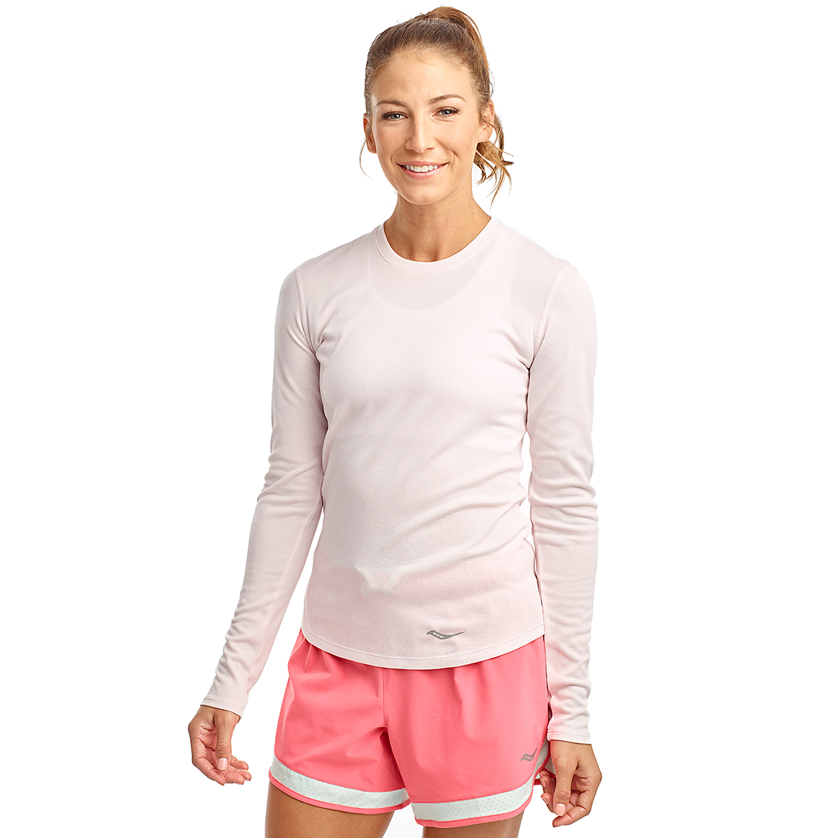 Women's Saucony Stopwatch Long Sleeve - Color: Barely Pink - Size: XXS, Barely Pink, large, image 1